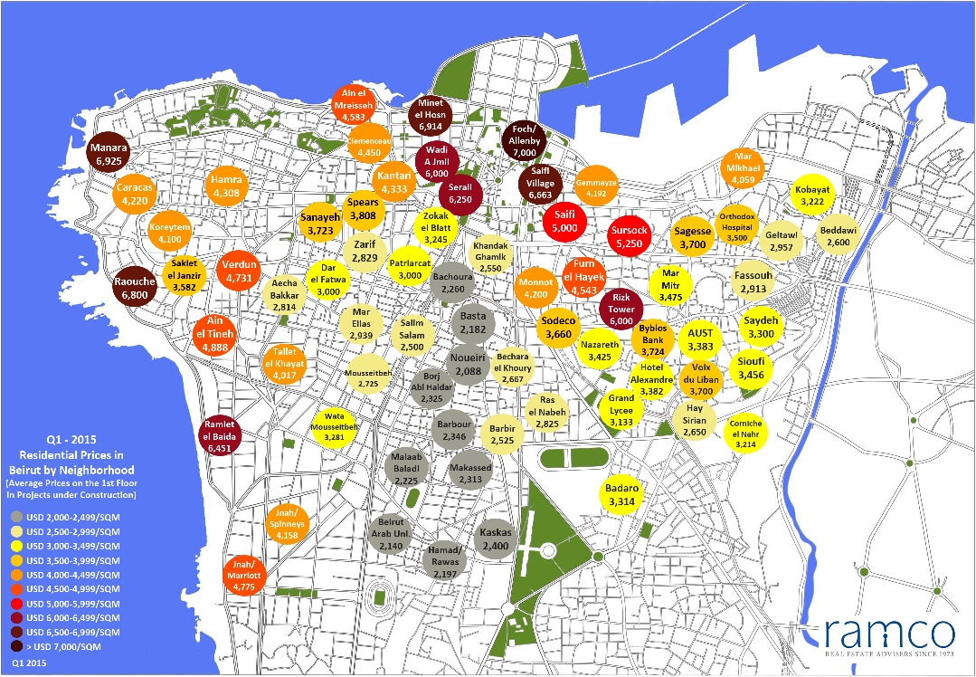 The map of the prices of new apartments, by neighborhood, reveals several indicators of the real estate market of Beirut
