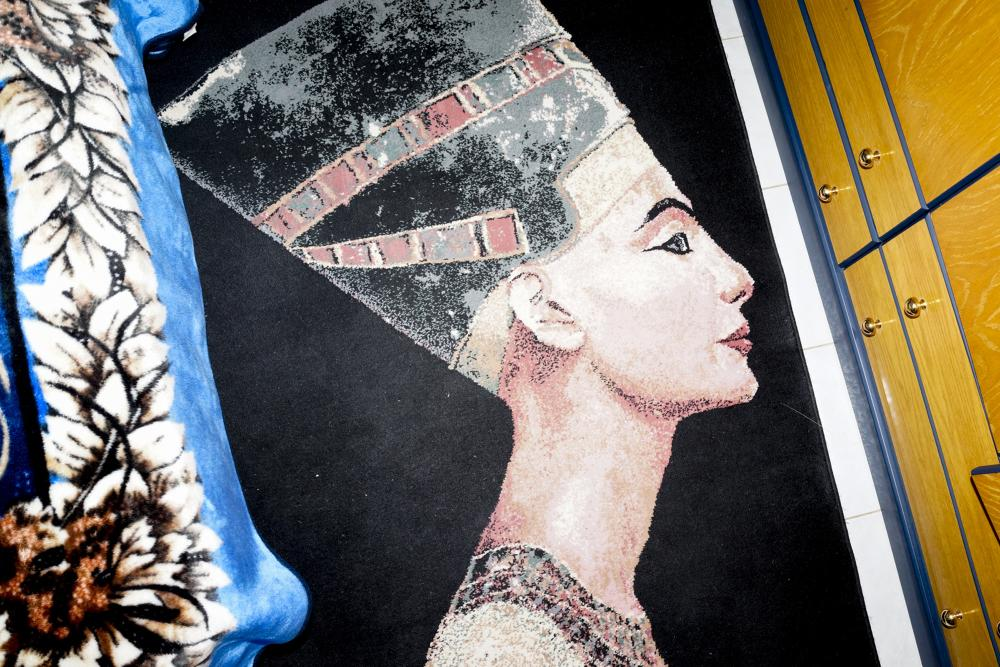 A rug inspired by ancient Egypt in in a bedroom at the Pyramid House