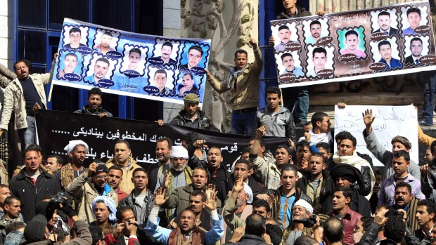 Relatives of the kidnapped Egyptians had protested in Cairo for the release. Photo: Reuters