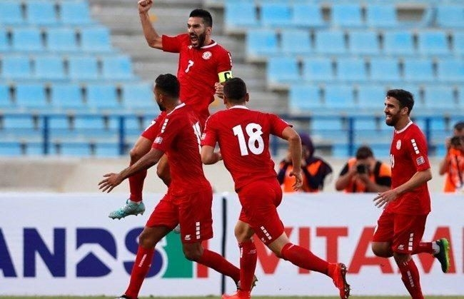 Lebanon's Hassan Maatouk celebrates with his teammates (AP Photo/Hassan Ammar)