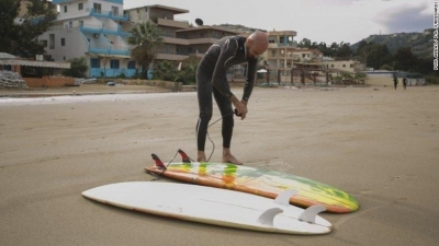 Abbas says his surfboards began to improve after he started surfing as he learned about the physics
